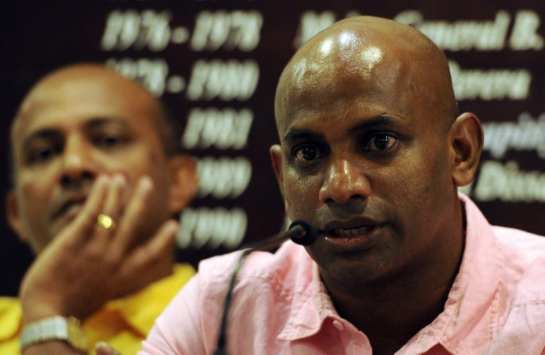 "Sri Lanka's new chief cricket selector Sanath Jayasuriya (R) and fellow selection panel member, former Sri Lankan cricket captain Hashan Thilakarathna (L) speak to reporters in Colombo on January 30, 2013. Jayasuriya, who is also a ruling party member of parliament, said he wants to ensure more ""passion for the game"" among players in the national team. AFP PHOTO/ LAKRUWAN WANNIARACHCHI / AFP PHOTO / LAKRUWAN WANNIARACHCHI"