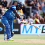 Thisara Perera of Sri Lanka plays a shot during the first Twenty20 cricket match between New Zealand and Sri Lanka at the Bay Oval in Mount Maunganui on January 7, 2016. AFP PHOTO / MICHAEL BRADLEY / AFP / MICHAEL BRADLEY