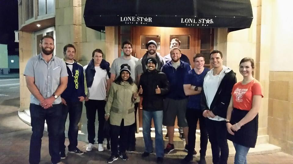 Meeting All Blacks, Keiran Reed, Richie Maccaw, Ben Smith, Sam Whitelock, Conrad Smith, Colin Slade, Daniel Carter in Napier.