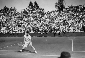 Frend Tennis player Christian Bousses is seen in action here in June 1934 at the Roland Garros Stadium during a Davis Cup match. Photo Credits : AFP