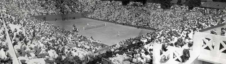 Full house at a Davis cup match opposing French player Andre Merlin to England's Bunny Austin in 1933 at the Roland Garros. Photo Credits : AFP