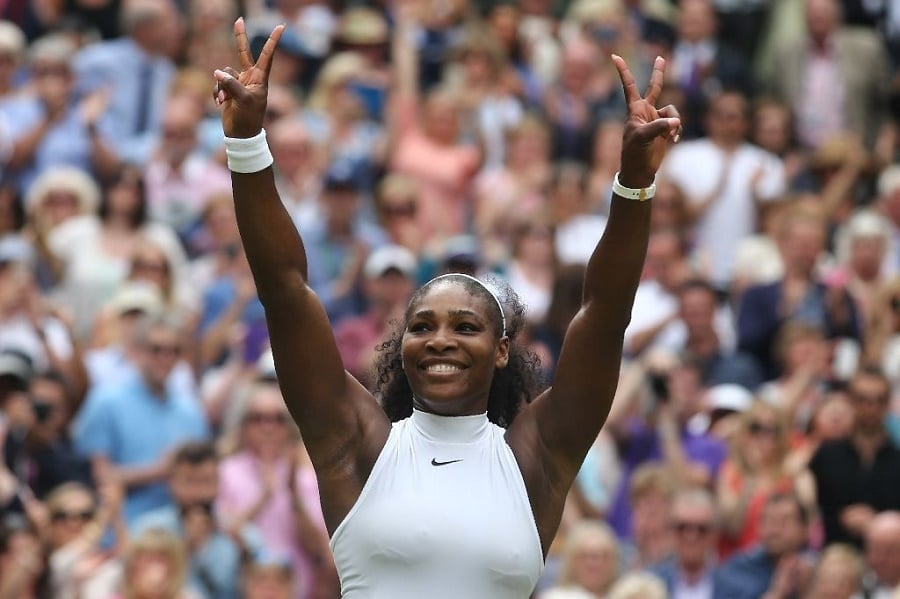 US player Serena Williams celebrates beating Germany's Angelique Kerber at Wimbledon