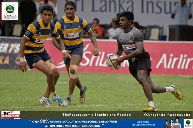 A young Lahiru Herath (R) in action for CWW Kannangara in the Carlton Super Sevens