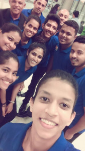 Team Sri Lanka before leaving the country