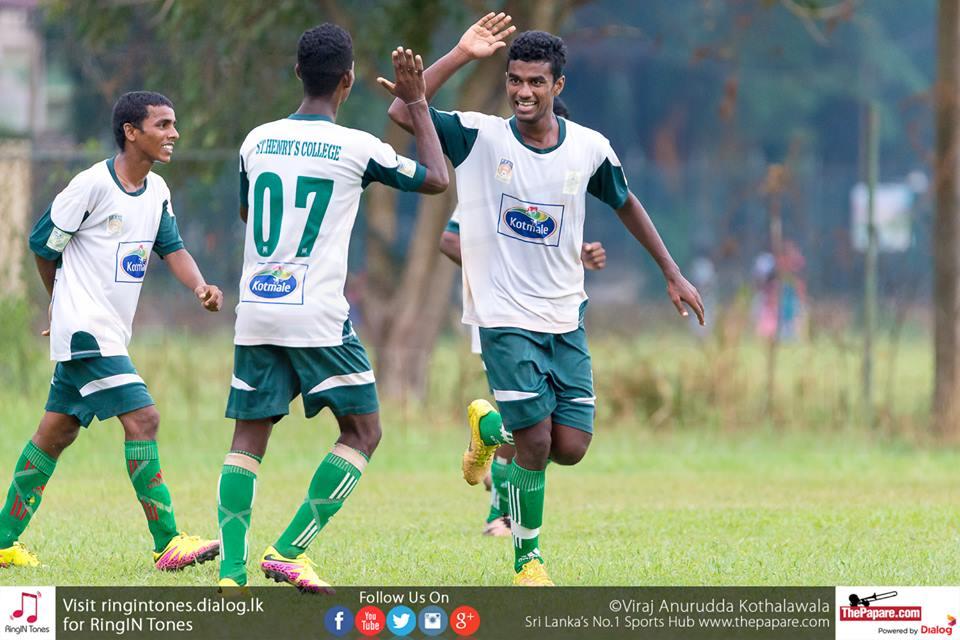 St.Henry's vs Hameed Al Husseinie – Schools Football 2016 - Kelaniya Football Complex - 29/7/2016 - Kajendran (R) celebrates his opening goal