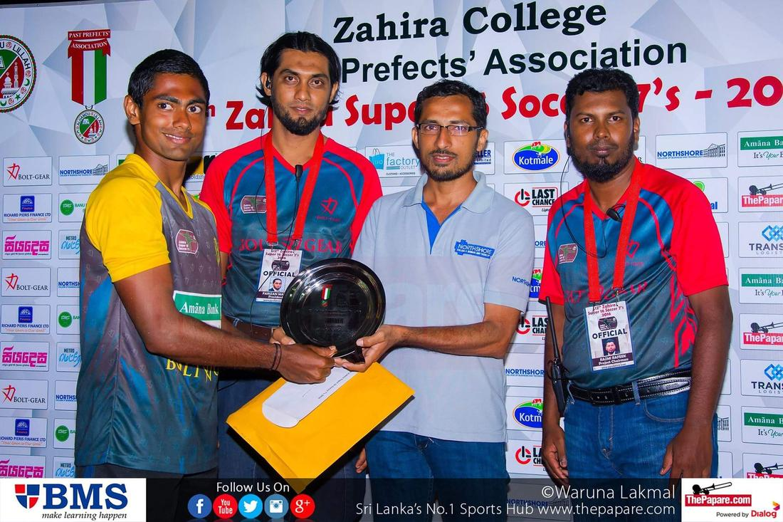 12th Zahira Super 16 Soccer 7's 2016 - Zahira College Grounds - 08/10/2016 Plate championship trophy collected by Royal captain Chathura Avishka.