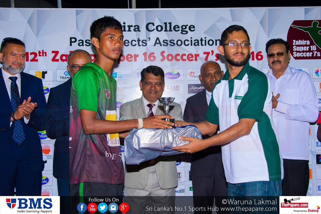 12th Zahira Super 16 Soccer 7's 2016 - Zahira College Grounds - 08/10/2016 Most valuable player Shafran Satha