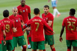 Portugal celebrating scoring agoal
