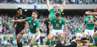 Ireland's Conor Murray celebrates Robbie Henshaw's try. Photograph: Billy Stickland/INPHO/Rex/Shutterstock