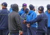 CHESTER-LE-STREET, ENGLAND - MAY 25: Players and coaching staff keep warm during Sri Lanka Nets session ahead of the 2nd Investec Test match between England and Sri Lanka at Emirates Durham ICG on May 25, 2016 in Chester-le-Street, United Kingdom. (Photo by Mitchell Gunn/Getty Images) *** Local Caption ***