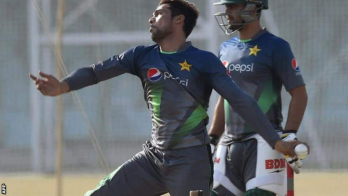 Amir, who has 99 international wickets, in training last month
