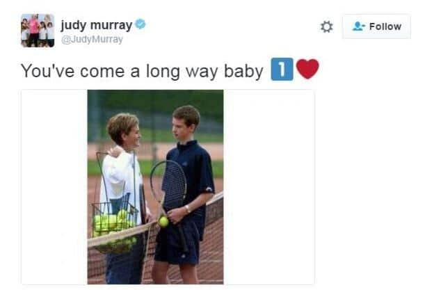 Murray's mother Judy was quick to post on Twitter