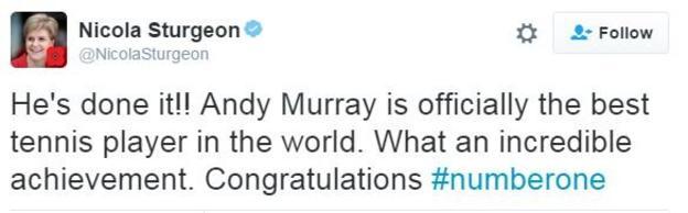 Scotland first minister Nicola Sturgeon praised her compatriot
