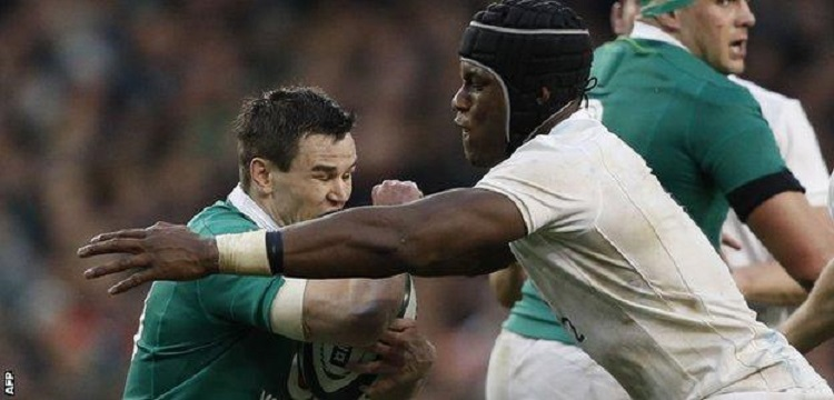 Ireland fly-half Sexton was on the receiving end of some physical England defence
