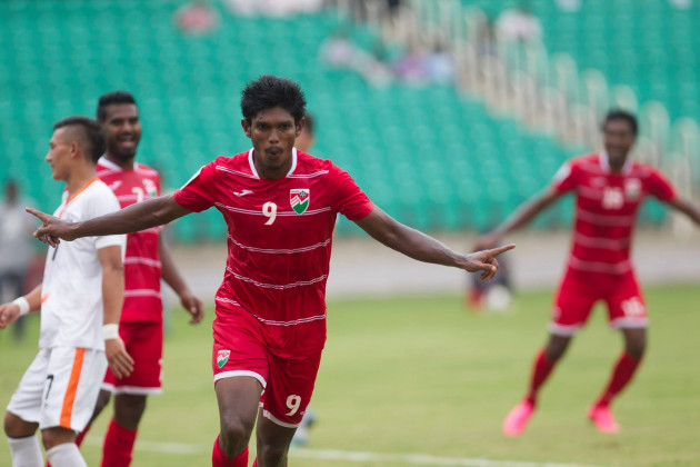Abdulla Asadhulla celebrating after he scored the second goal for Maldives in the 31st minute of the match, giving his team a 2-1 lead. (Photo -SAFF Suzuki Cup)