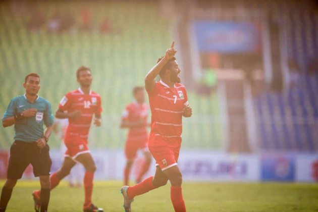 Ali Ashfaq celebrates after scoring the third goal. (Photo - SAFF Suzuki Cup)