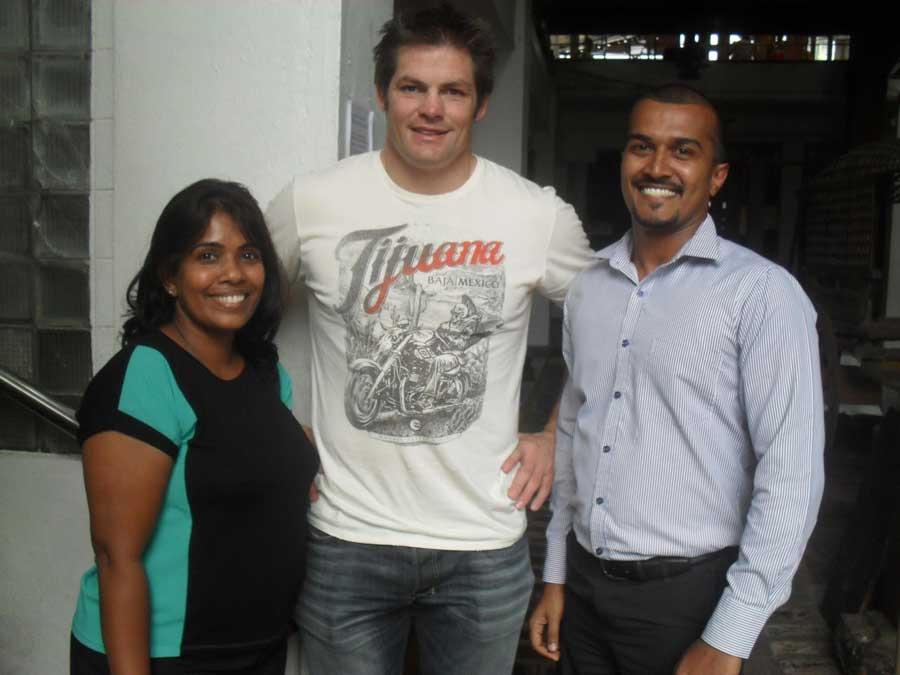 Anusha & Anushka with Richie Maccaw in Sri Lanka