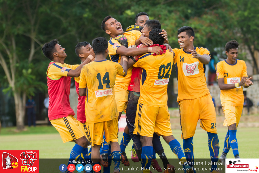 Army SC's Nilanka Kumara is mobbed by his teammates after his penalty shootout heroics - FA Cup 2016 Quarter Final