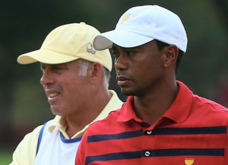 Caddie Steve Williams, left, with Tiger Woods ©Getty images