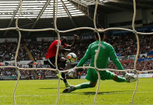 Football Soccer - Premier League - Swansea City vs Manchester United - Swansea, Britain - August 19, 2017 Manchester United's Romelu Lukaku scores their second goal Action Images via Reuters/Andrew Boyers