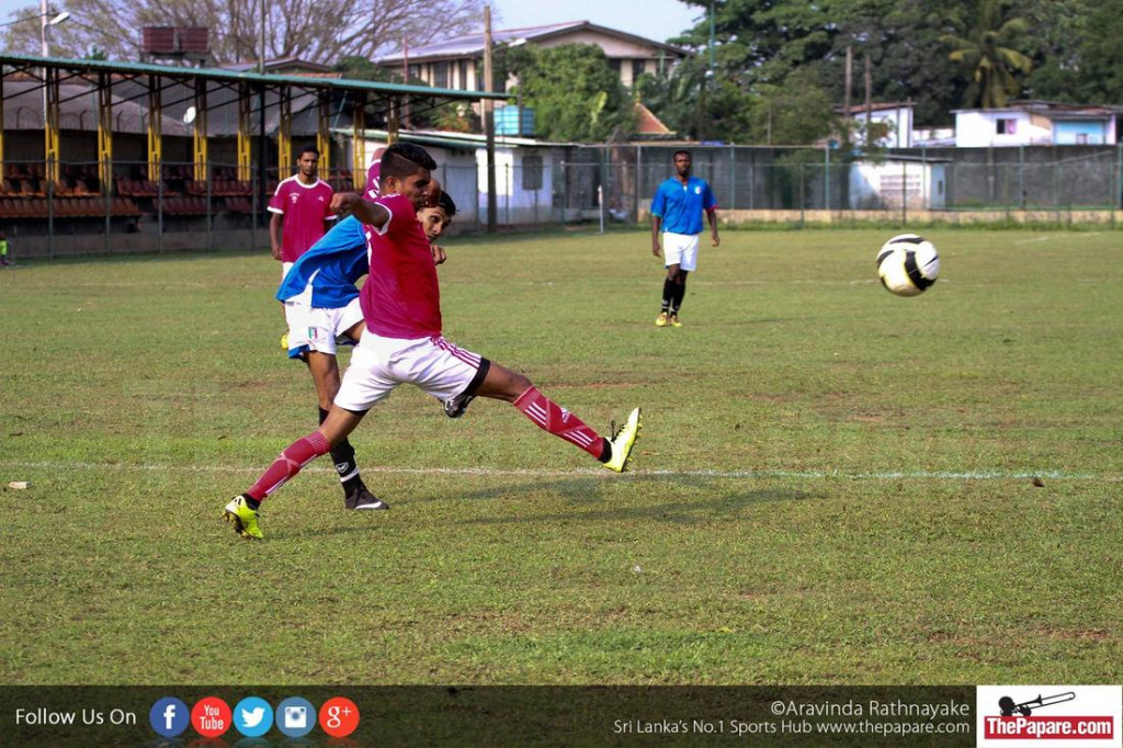 Colombo FC player takes a shot on goal (Senior Inter League)