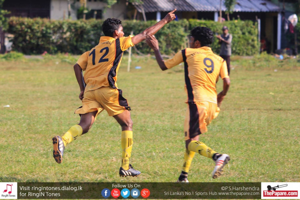 D.R.Madushanka of Rathmalana United celebrates his first goal against Friends FC
