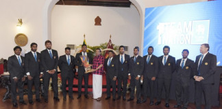 Sri Lanka cricketers were felicitated by President