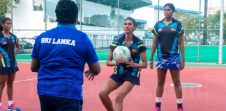 Deepthi Alwis while training her squad in 2015. Gayanie Dissanayake in picture