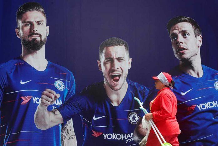Chelsea's Olivier Giroud, Eden Hazard and Cesar Azpilicueta