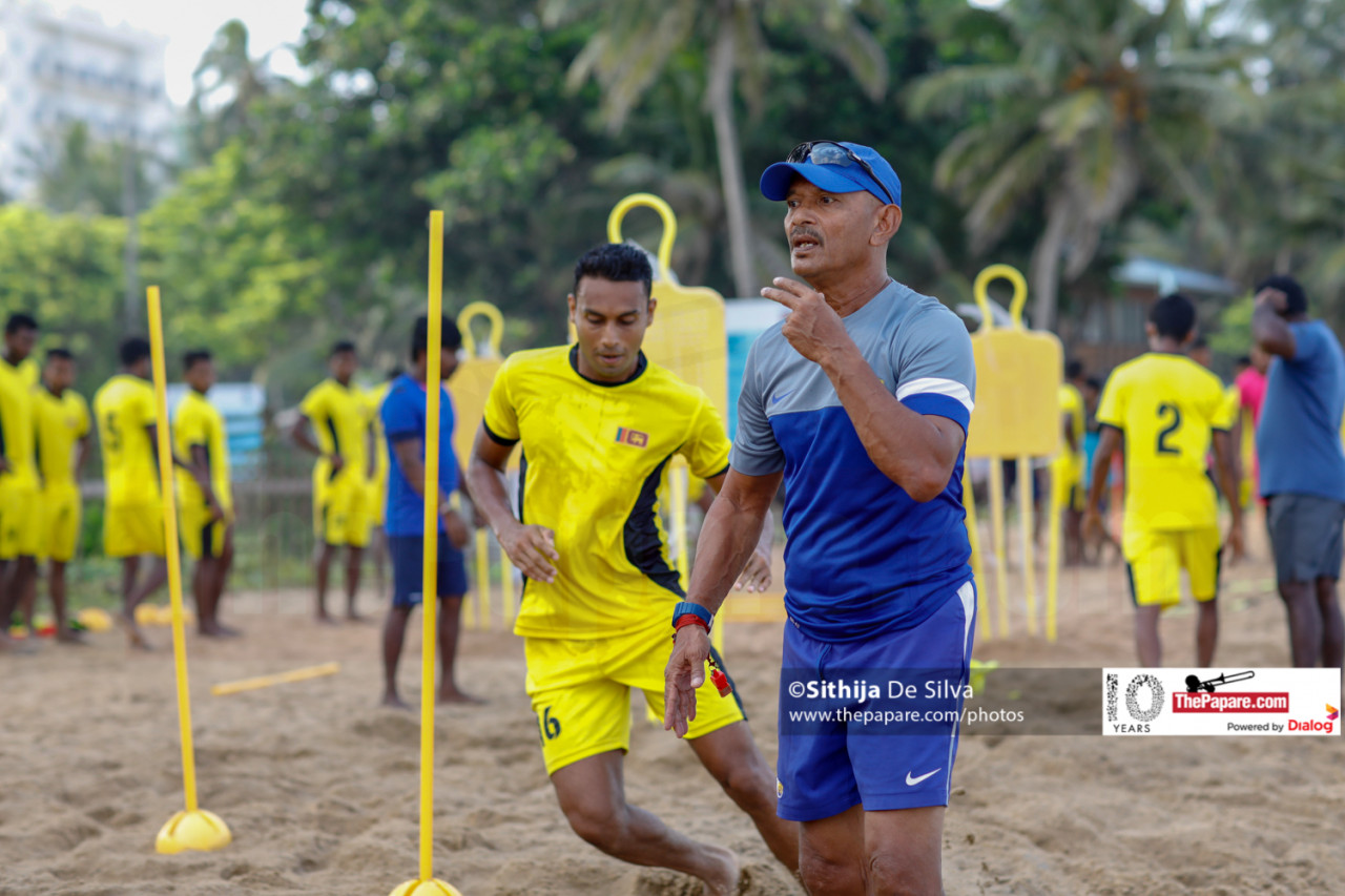 Head Coach Nizam Packeer Ali on beach training