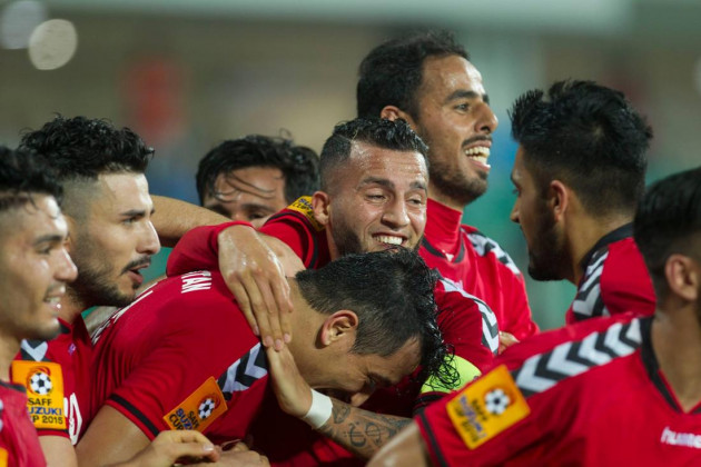 Exuberant faces of the Afghanistan players as they beat Bangladesh quite convincingly by 4-0 to start their title defence in style. (Photo - SAFF Suzuki Cup)