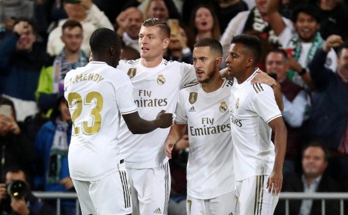 - La Liga Santander - Real Madrid v Real Betis - Santiago Bernabeu, Madrid, Spain - November 2, 2019 Real Madrid's Eden Hazard celebrates scoring a goal before it is disallowed following a referral to VAR REUTERS/Sergio Perez