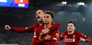 Premier League - Leicester City v Liverpool - King Power Stadium, Leicester, Britain - December 26, 2019 Liverpool's Trent Alexander-Arnold celebrates scoring their fourth goal with Jordan Henderson and Andrew Robertson REUTERS/Andrew Yates