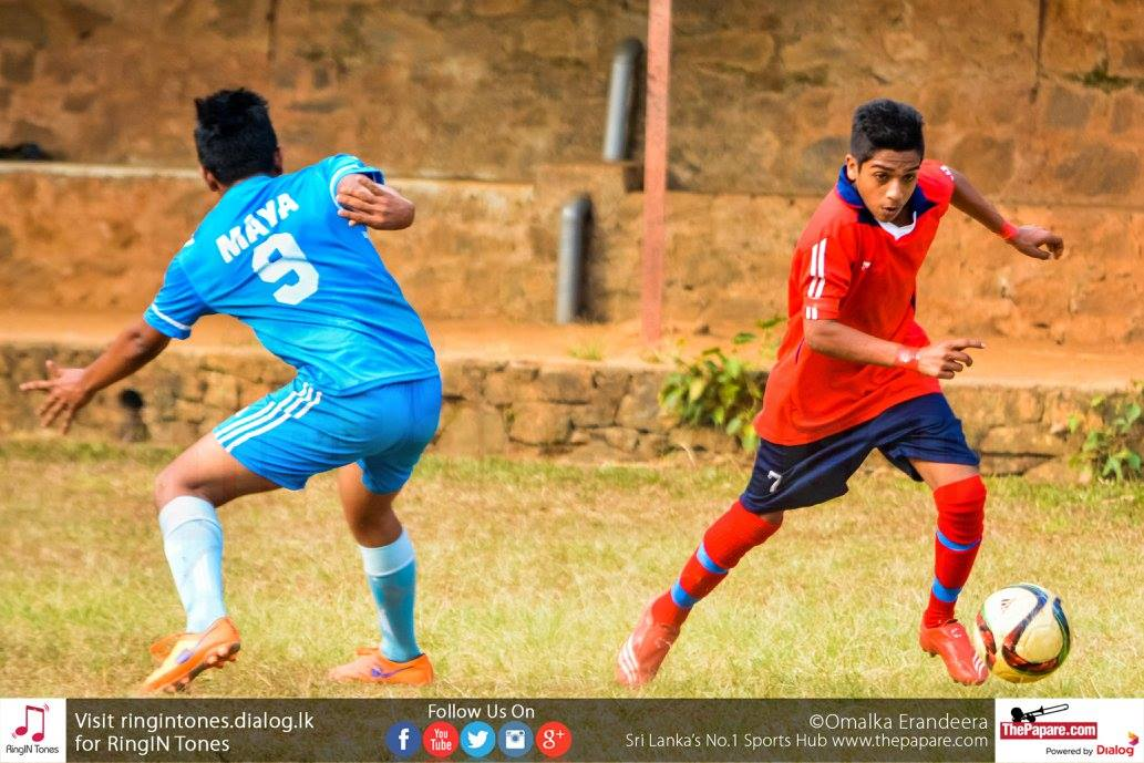 Gampola FL U19's Mohamed Ifam evades a Kegalle FL U19 defender
