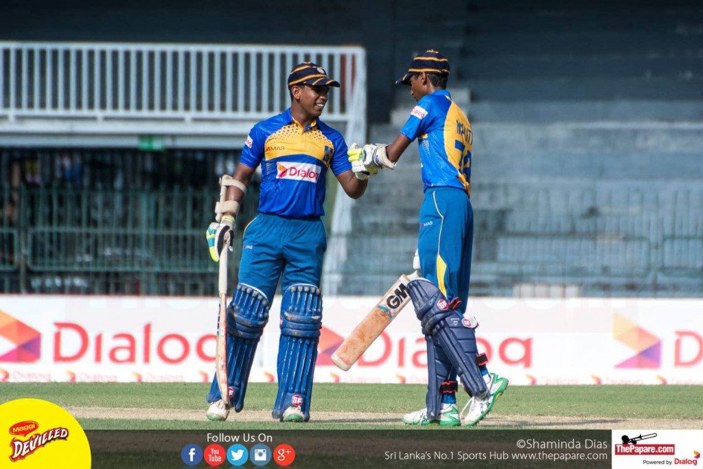 Geeshath Panditharatne (L) and Malith Kariyawasam (R) put on a 64 run partnership for the 5th wicket at the 41st Mustangs Trophy