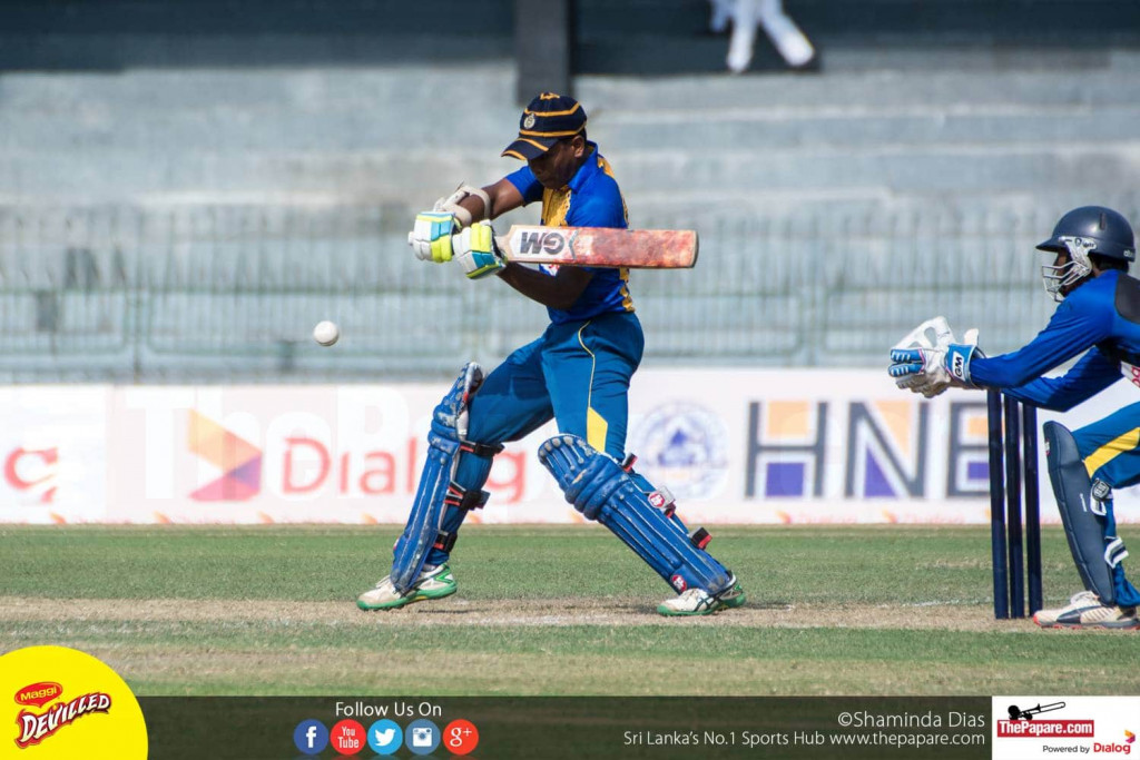Geeshath Panditharatne cuts the ball on his way to a half century at the 41st Mustangs Trophy