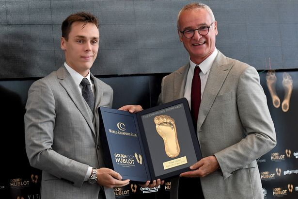 Prince Albert's nephew Louis Ducruet presents an award to Claudio Ranieri