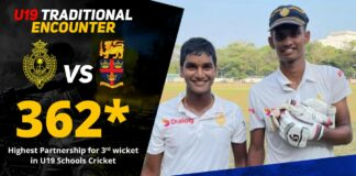 Highest Partnership for 3rd wicket in U19 Schools Cricket