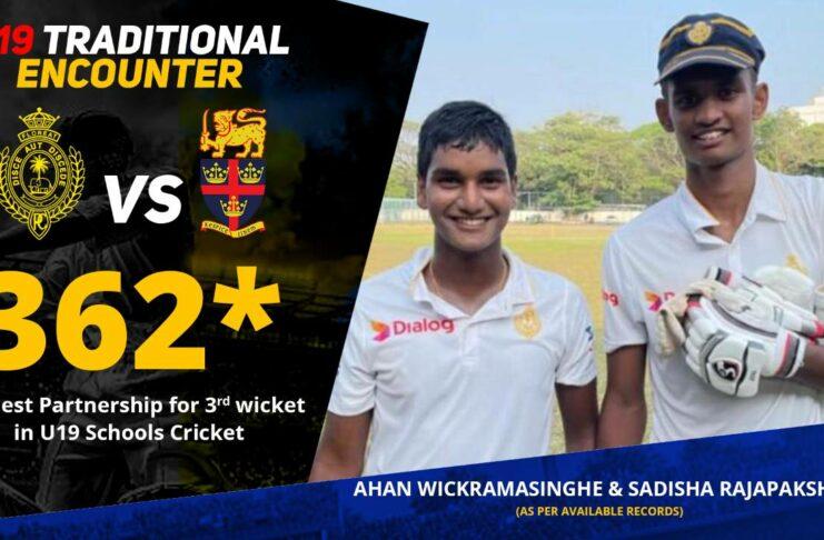 Highest Partnership for 3rd wicket in U19 Schools Cricket