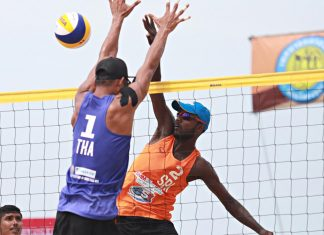 Sri Lanka's Indika Tiron & Malintha Yapa in action - 20th Asian Beach Tour Samila Open 2019