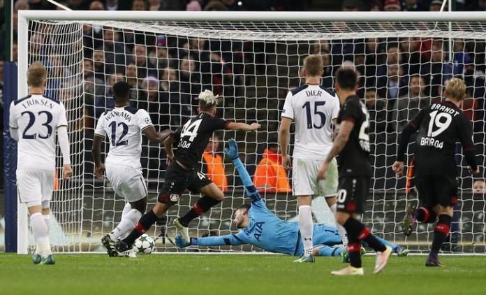 Bayer Leverkusen's Kevin Kampl scores their first goal