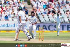 Lahiru in action at Cape Town against South Africa