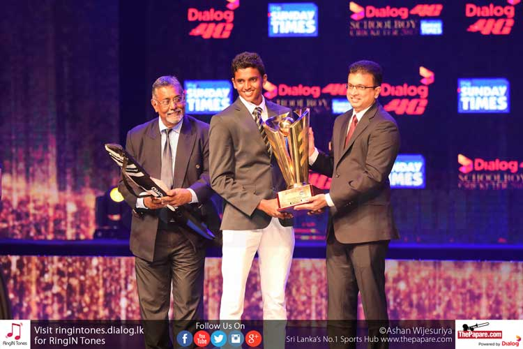 Lasith Crosspulle of Maris Stella College won the Most Popular Schoolboy Cricketer of the Year award collecting 248005 votes