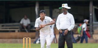 Josephian spinner Malshan Rodrigo in his bowling stride