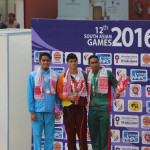 Matthew Abeysinghe on top of the podium with his gold medal at the South Asian Games 2016. (Photo - Anjana Kaluarachchi
