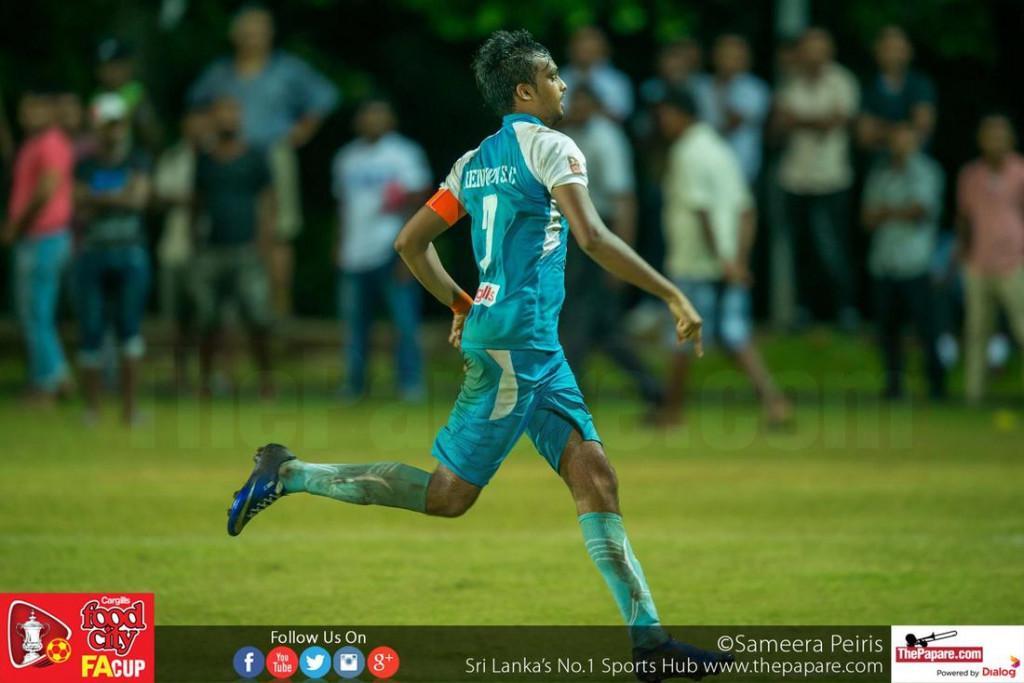 Mohamed Rifnaz celebrates scoring the winning penalty - FA Cup 2016 Semi Final