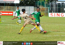 New Star SC player (L) and Moragasmulla SC player (R) tackles each other - Premier League Div I 2016