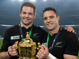 Richie McCaw and Daniel Carter with the Webb Ellis Cup. Photo / Brett Phibbs