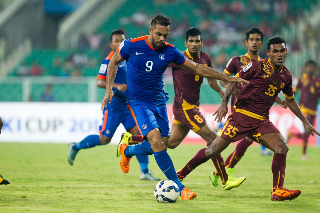 Robin Singh scoring his second goal (Photo - SAFF Suzuki Cup)