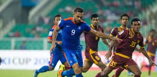 Robin Singh scoring his second goal (Photo - SAFF Suzuki Cup)